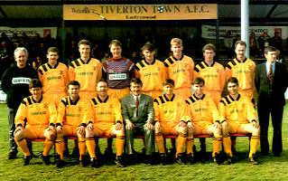 Tiverton Town 1992/93 - Back Row: Keith Simmons (Physio), Steve Hynds, Phil Everett, Ian Nott, Mark Saunders, Jason Smith, Steve Daly, Mark Short, John Owen (Assistant Manager). Front Row: Peter Rogers, Lee Annunziata, Kevin Smith, Martyn Rogers (Manager), Hedley Steele, Neil Saunders, Matthew Scott.