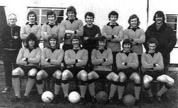 Tiverton 1973/74 Back row: R Shears (Trainer) J Cridland, T Butt, A Broomfield, R Sowden, P Hagley, J Vanstone, B Sharples (Manager) Front row: M Southcott, K Freeman, J Freeman, M Howe, R Stone, R Lancelles