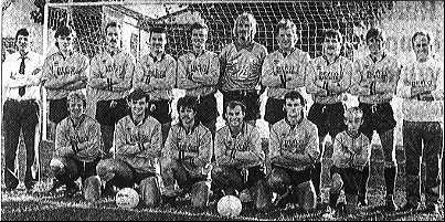 Tiverton 1989-90 - Back row: J Owen (Manager) M Saunders, M Short, J Durham, K Bryant, K Allen, P Webber, M Rogers, H Steele, K Simmons (Physio) Front row: R Forbes, N Saunders, C, Jones, N, Jarvis, M Seatherton